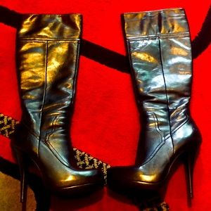 Bronx Black Leather Below The Knees Boots